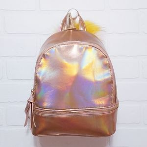 Rose Gold Holographic backpack with Unicorn Horn